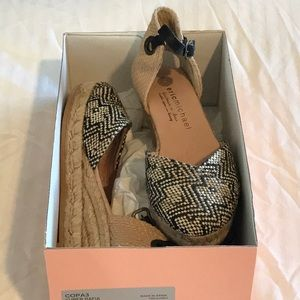 ERIC MICHAEL twill espadrille ankle strap low heel